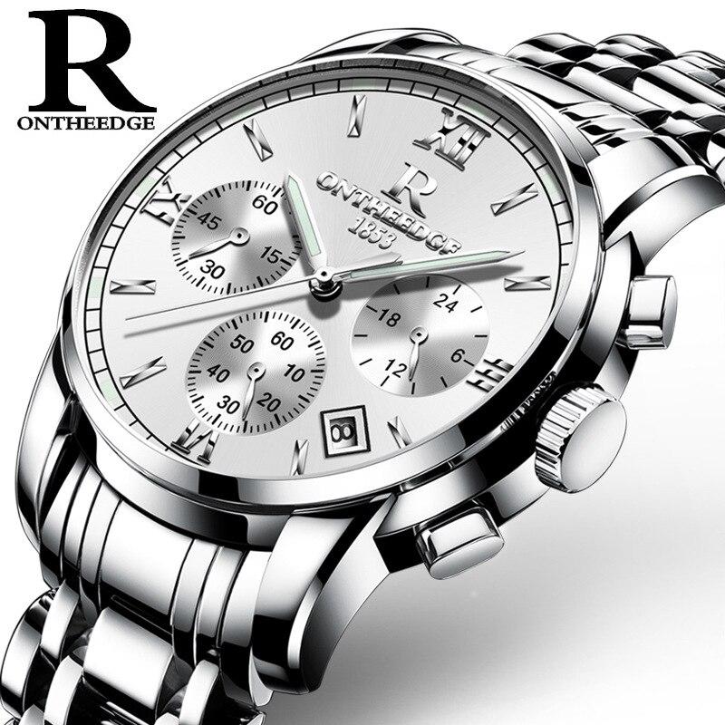 Chasy Luxury brands ONTHEEDGE Multi Functional Full Steel Watch Fashion Men Business Waterproof Quartz Watch zegarki meskie цена и фото