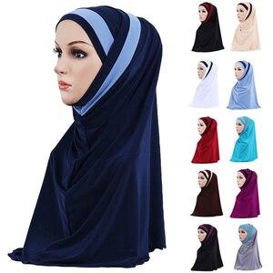 Image 1 - 2PCS Muslim Hijab Islamic Women Under Scarf Bone Bonnet Ninja Head Cover Inner Cap Arab Prayer Hat Ladies Ramadan Turban Fashion