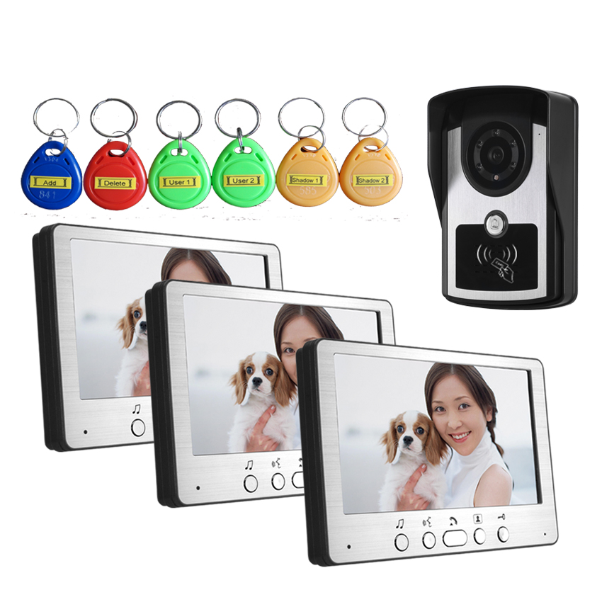 7 Inch  Wired Intercom Video Door Phone With Three Monitor ID Card Access Control System one key call 700tvl for wired video door phone outdoor camera id card access control
