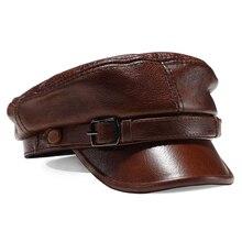 Роскошные Брендовые женские и мужские шапки в стиле милитари, черные шапки из натуральной кожи для студентов, женские шапки на плоской подошве, регулируемые осенне-зимние шапки капитана