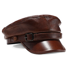 Sombrero de marca de lujo para hombre y mujer, gorras militares de cuero auténtico negro, sombreros planos ajustables para estudiantes, gorras de capitán de otoño e invierno