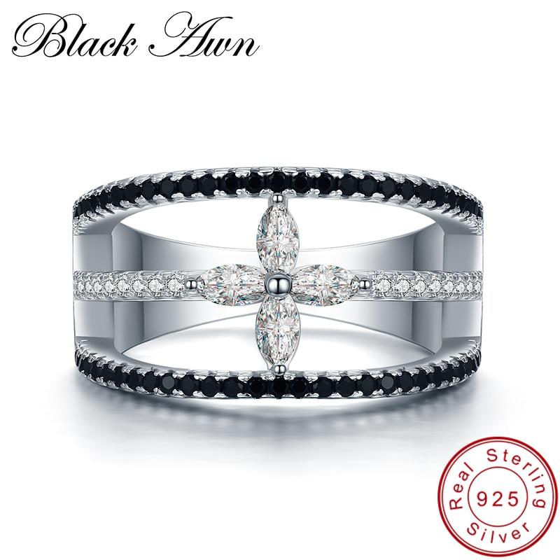 Romantique 5.4g 925 En Argent Fin Bijoux Trendy Engagement Bague Spinelle Noir Feuille de Femmes Anneau De Mariage Bijoux Femme g004