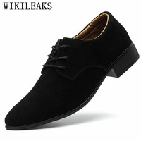 Luxury Brand Men Shoes Genuine Suede Leather Shoes Men Oxfords Formal Office Wedding Dress Shoes Spring Autumn Classic Man Shoes