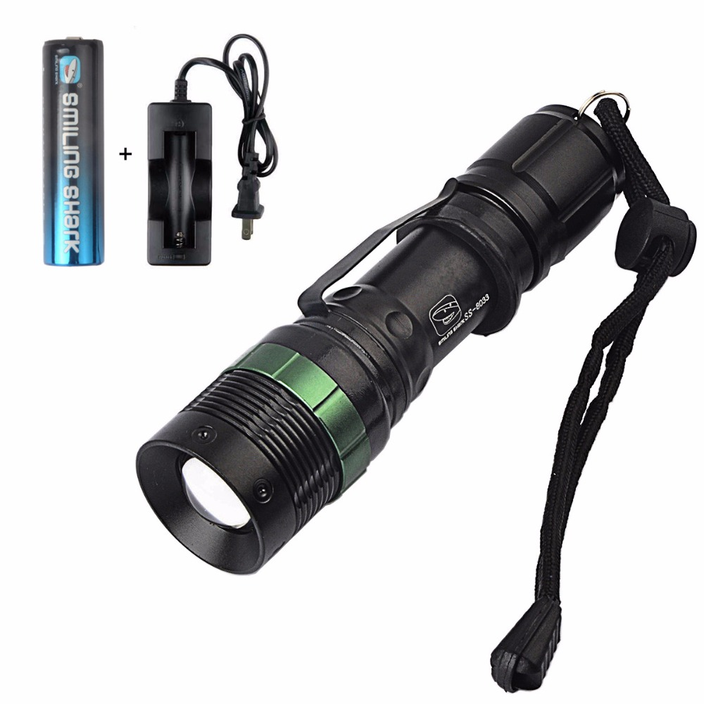 Brightest High Lumens Zoomable CREE Q5 LED Flashlight with Charger and Rechargeable Batt ...