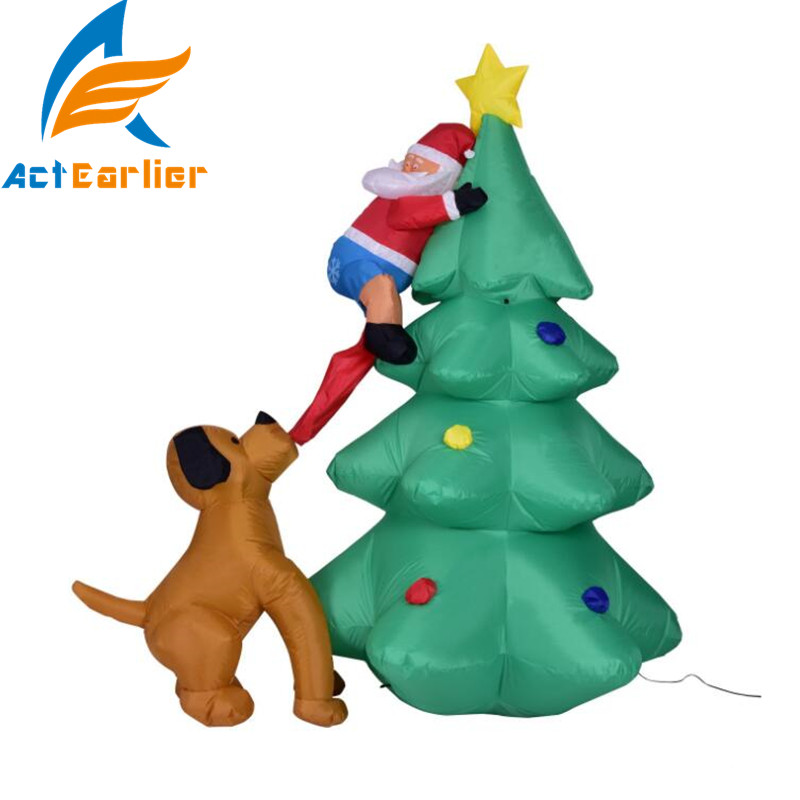 actearlier 180cm inflatable christmas tree toys funny dog bite santa claus party decoration kids outdoor toys gift wholesale