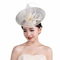 3 COLORS Wedding hair accessories for woman Vintage Sinamay Sagittate flower Feather Fascinator with Headband tocados sombreros