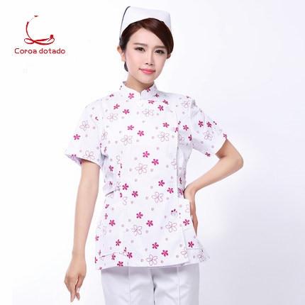 Summer nurse short sleeve medium long floral split suit work clothes professional slim