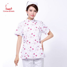 Summer nurse short sleeve medium long floral split suit work clothes professional slim