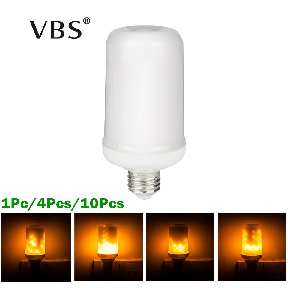 1Pc/4Pcs/10Pcs E27 E26 2835 SMD LED lamp Flame Effect Fire Light Bulbs Fire Flickering Emulation flame Lights AC100-265V