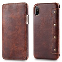 Real Genuine Leather Flip Cover Protect Fundas Pocket Bag For IPhone X IPhoneX Retro Vintage Wallet