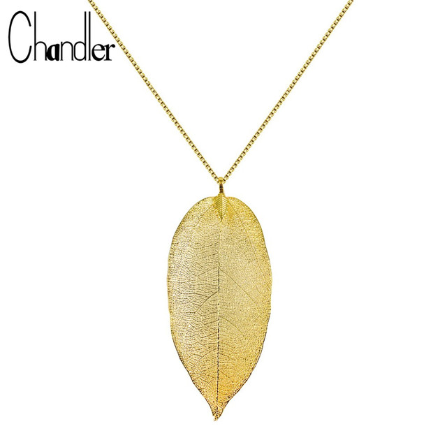Chandler Original Natural Gold Leaf Pendant Necklace For Women Girls 45CM Chokers Tree Leaves Necklace Handmade Winter Jewelry