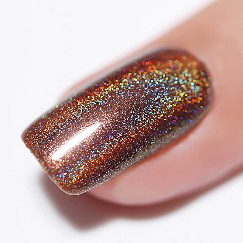 NEE JOLIE holográfica arte de uñas esmalte láser brillante brillo Holo uñas arte barniz DIY manicura uñas laca decoración aire seco
