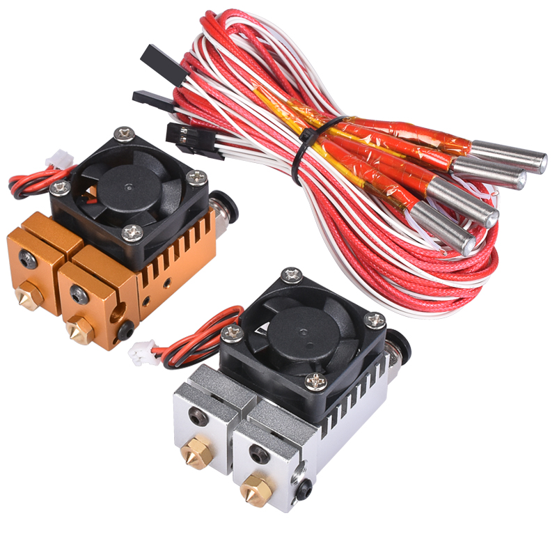 BIQU All metal 2 in 2 out extruder Chimera 3D Hotend Kit Dual Color Extruder Multi-extrusion V6 Dual Extruder 0.4mm/1.75mm