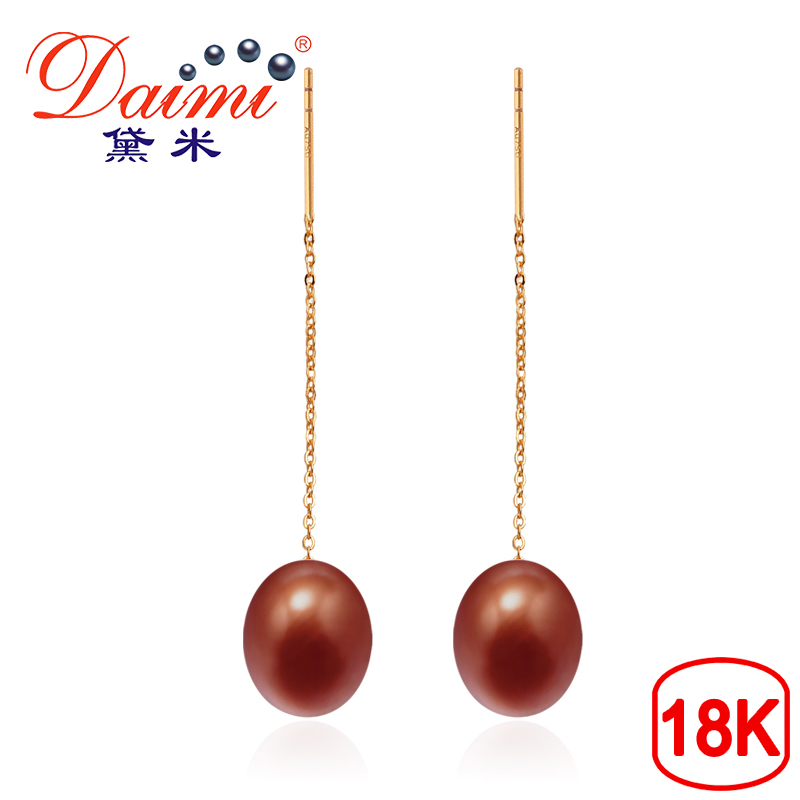 DAIMI 18k Gold Long Earrings Brown Pearl Drop Earrings 8-9mm 18k Yellow Gold Chain Earrings High Quality Brand Jewelry yoursfs dangle earrings with long chain austria crystal jewelry gift 18k rose gold plated