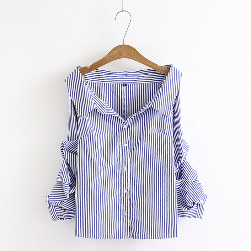 Womens Sexy V Word Lapel Tri-color Optional Striped Shirt Folded Sleeves Single-Breasted Three-color Dream Shirt 2018 Spring New
