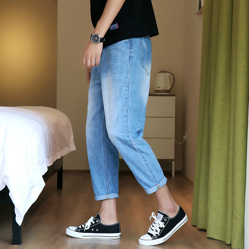 Man Nine Part Haren Jeans You The new listing Wind In Leisure Time Japanese Motion Fashion Free shipping Favourite blue