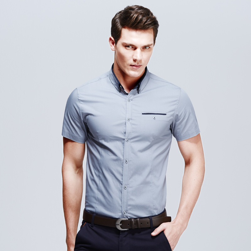 2015 new brand mens shirts short sleeve casual shirt men for Mens short sleve dress shirts