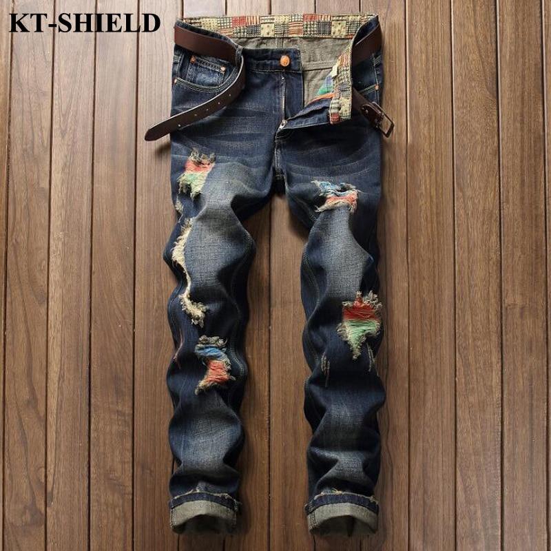 ФОТО Hot Sale Slim Skinny Jeans Men Fashion Colorful Men Denim Trousers Cotton Full Length Ripped Blue Men Jeans Hombre Vaqueros