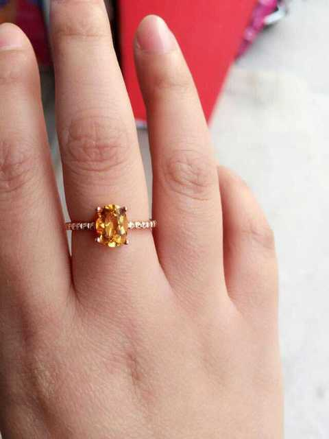 Natural citrine Ring Natural yellow crystal Ring 925Sterling Silver trendy trend  Elegant simple roun women's Party fine Jewelry