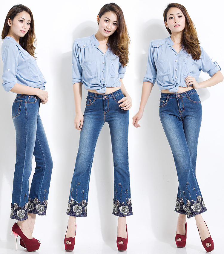 Korean Women Jeans Embroidered Beaded Bell Bottoms Stretch Slim Fit High Waist Jeans Female Sexy Ladies Push Flare Pants Large 12