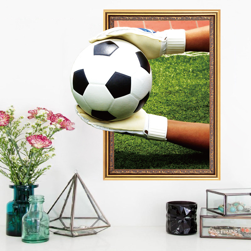 3D Goalkeeper Catch Football Vinyl Wall Stickers Funny Realistic Art Wall Decals Mural for Kids Rooms Bedroom Home Decor XH6246 image