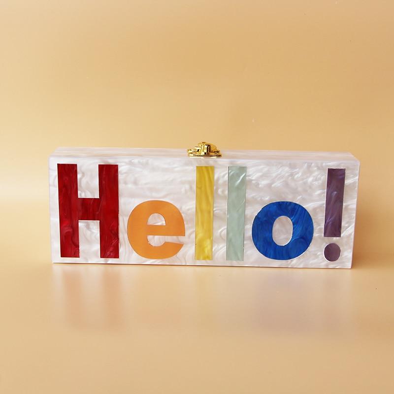 2017 Personnalité Rose Perle Acrylique Nom Sac de soirée embrayage sac Personnalisé Lettre acrylique dur boîte d'embrayage sac à main petit parti purs