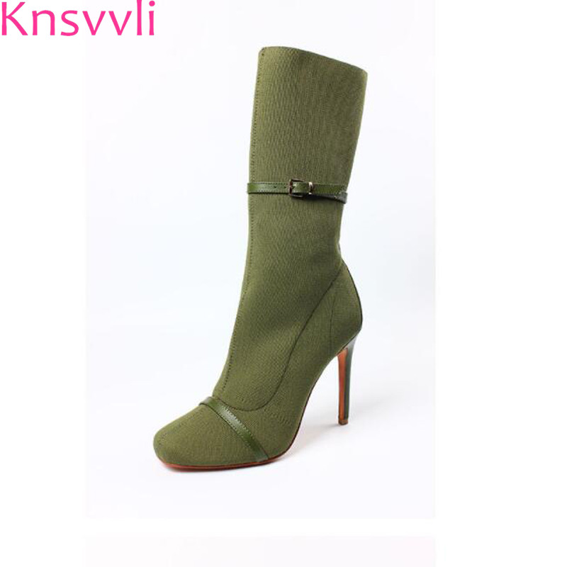 Knsvvli new style customized green knit stretch boots round toe belt buckle woman boots with heels orange fashion boots woman