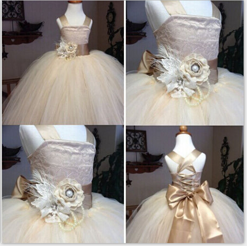 2019 vintage lace rustic champagne color spaghetti straps fluffy tulle ball gown for weddings Real Sample   flower     girl     dresses