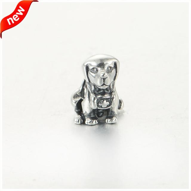 Serve para pandora pulseira encantos beads europeus para fazer jóias de prata de prata 925 original santo cão bernard charme jóias diy