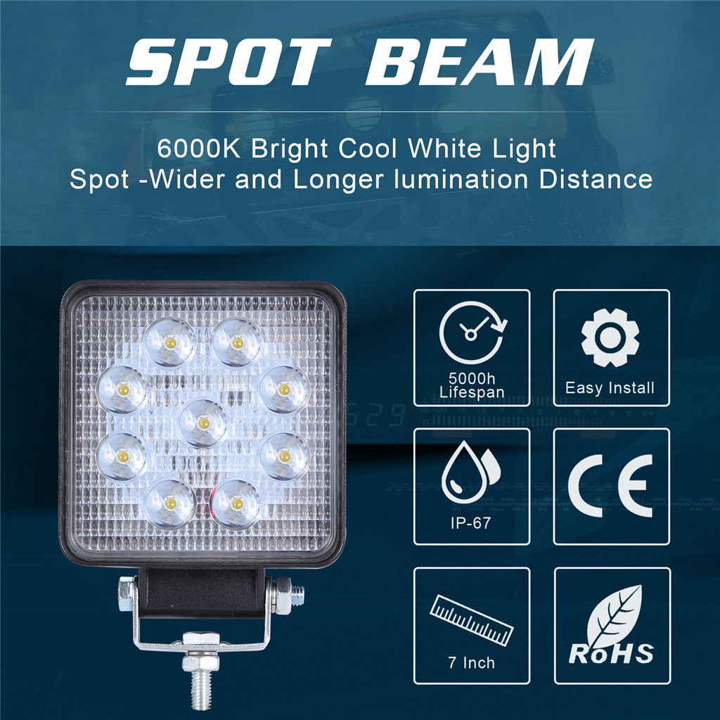 Image 3 - Luces Led Para Auto 2x LED Lamps For Cars LED Work Light Pods 4 Inch 90W Square Spot Beam Offroad Driving Light Bar-in Light Bar/Work Light from Automobiles & Motorcycles