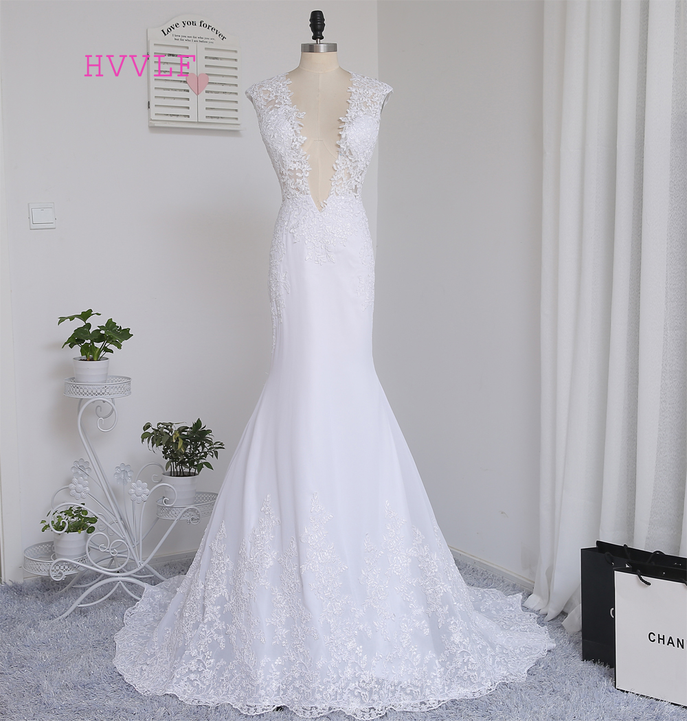 Vestido De Noiva 2018 Beach Wedding Dresses Mermaid Deep V-neck Sweep Train Lace Vintage Wedding Gown Bridal Dresses Real Photos