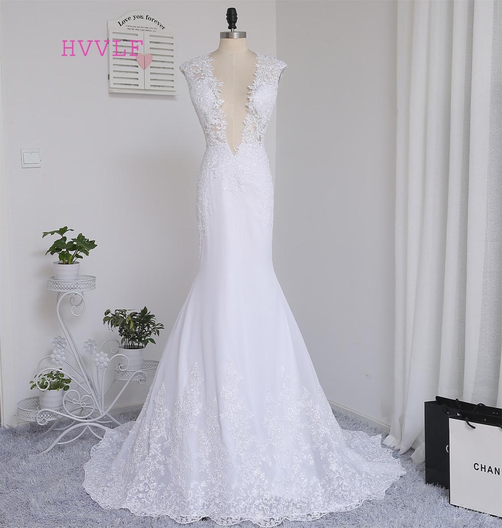 Vestido De Noiva 2019 Beach Wedding Dresses Mermaid Deep V-neck Sweep Train Lace Vintage Wedding Gown Bridal Dresses Real Photos