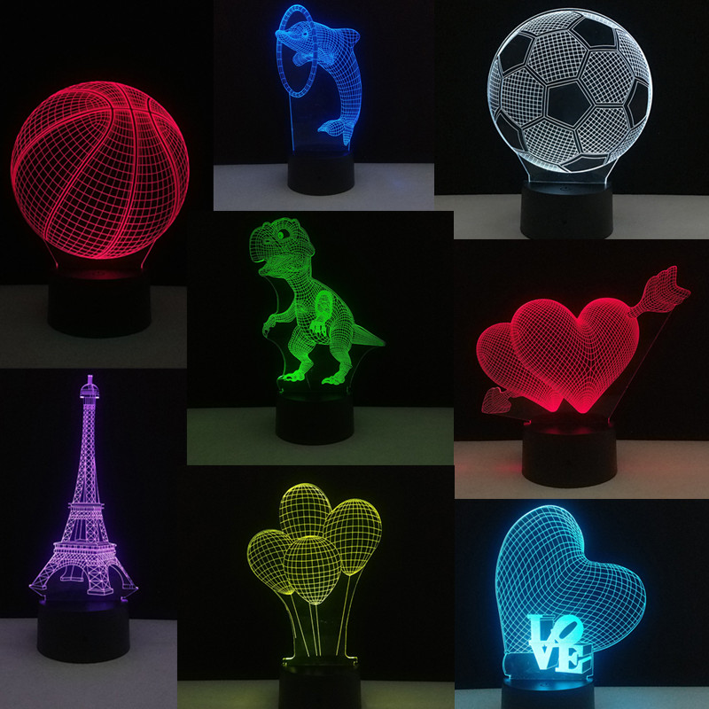 Kids Toys Glow in the Dark 3D Visual Illusion Light Love Hea