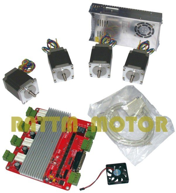Germany Ship! 4 Axis controller kit, 4pcs Nema 23 270 oz-in stepper motor + 4 axis CNC controller board + 350w 24v power supply 4 axis cnc kit 8 5nm 1204oz in nema 34 stepper motor