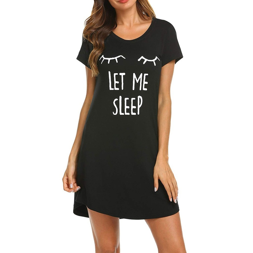 Women Nightgowns Summer Sleepwear Casual Night Dresses Short Sleeve Cartoon Printed Loose Nightdress Home Clothes Lingeries BB4