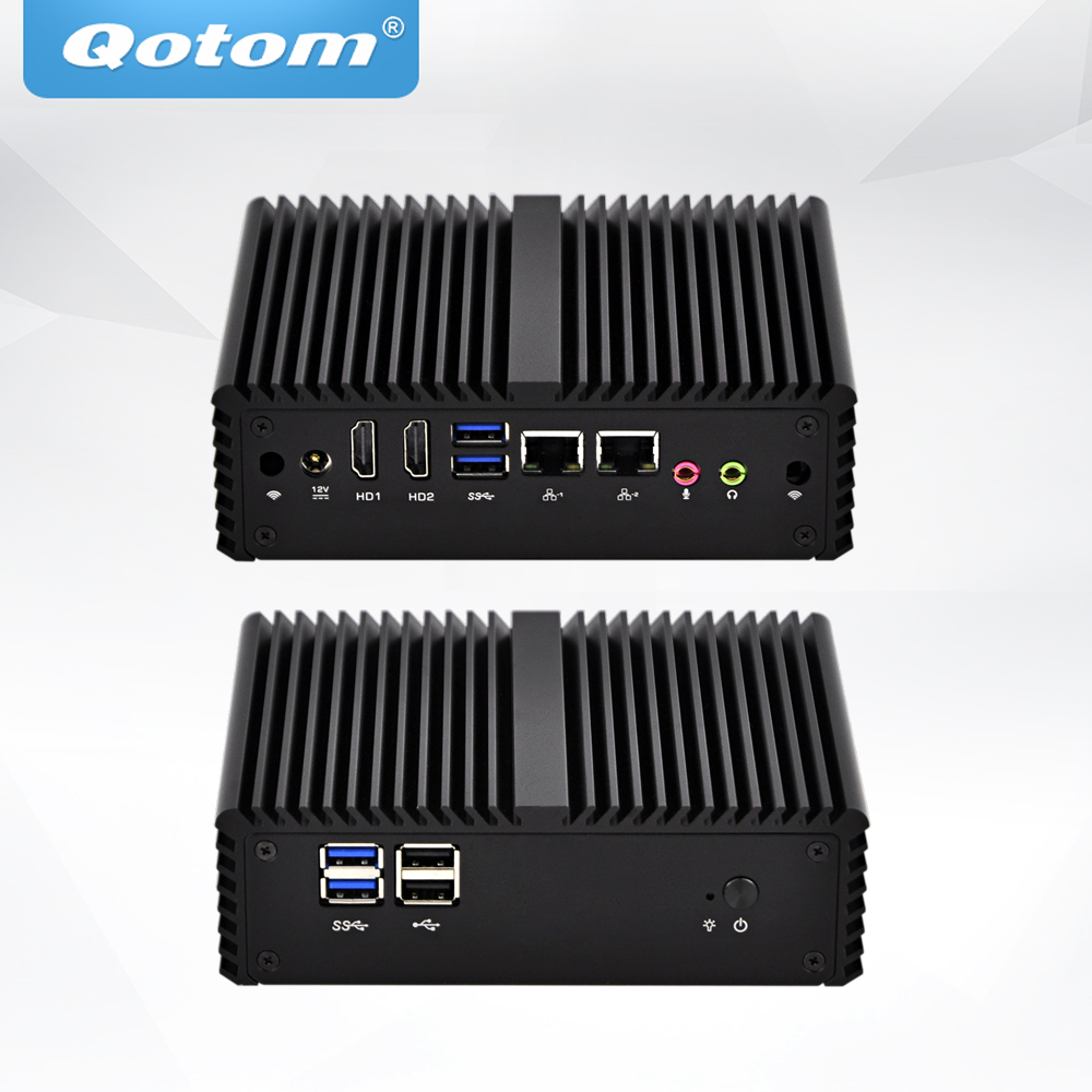 QOTOM Mini Desktop Computer Core I3 I5 Processor, Support LTE Module, Fanless Mini PC Dual NIC