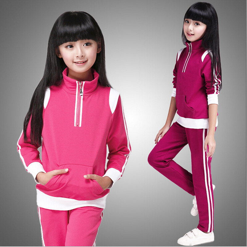 Autumn girl suits new 2016 autumn and spring girls long-sleeved sets exercise students big kids sport suit leisure two-piece