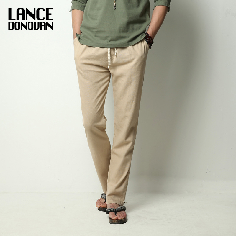 2019 New Summer Chinese Style Men's Linen Casual Pants Male Trousers