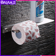 Toilet Paper Holder with Shelf Black Creative Bathroom Roll Wall Mounted Aluminum Tissue Towel Holders
