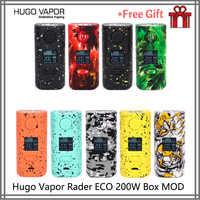 Original e cigs hugo vapor rader eco 200 w caixa mod de pouco peso cigarro eletrônico duplo 18650 vs thro pro vape mod dovpo duplo