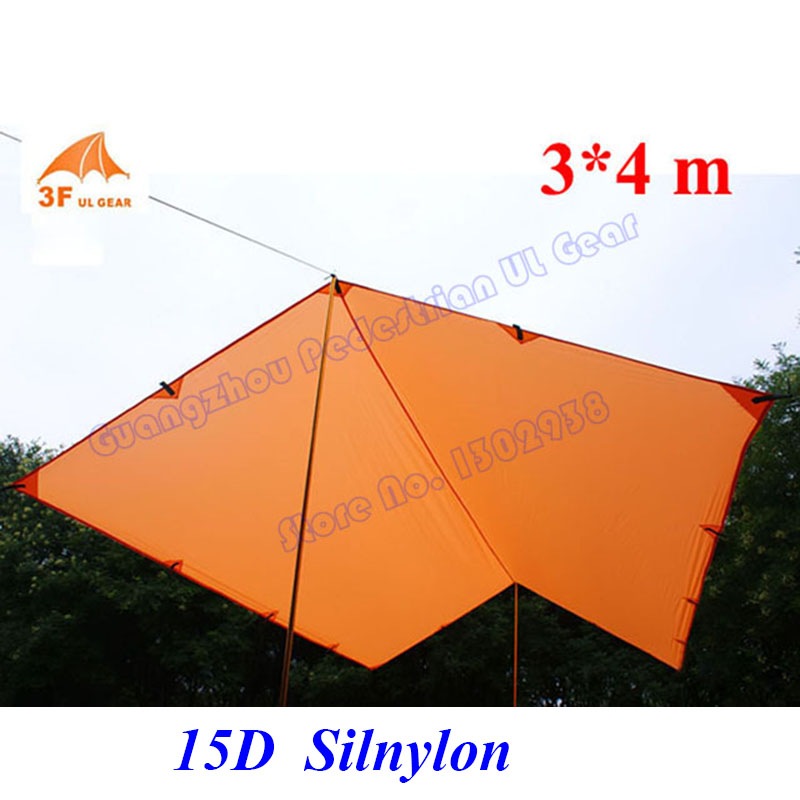 Silicon coating ultra light 3F UL Gear 3*4m  15D Nylon outdoor  tarp shelter  high quality beach awning-in Sun Shelter from Sports & Entertainment    1