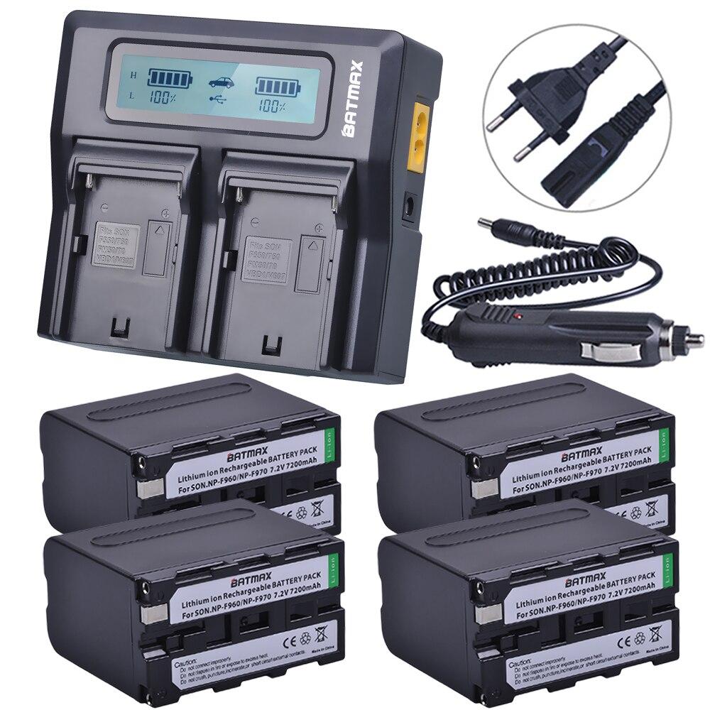 4 Pcs 7.2 V 7200 mAh NP F960 F970 Affichage de la Puissance Batterie + 1 Ultra rapide 3X plus rapide Double Chargeur pour SONY F930 F950 F770 F570 CCD-RV100