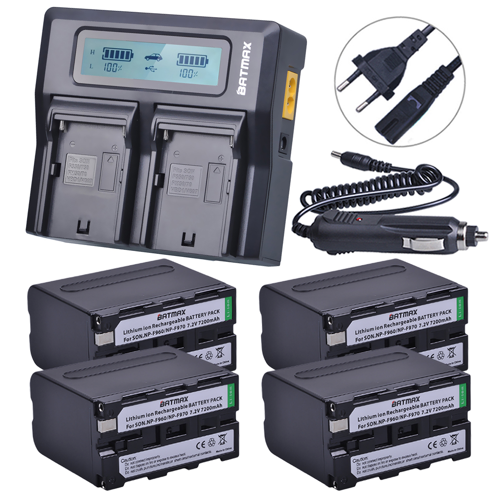 4Pcs 7.2V 7200mAh NP F960 F970 Power Display Battery +1 Ultra Fast 3X faster Dual Charger for SONY F930 F950 F770 F570 CCD-RV100 np f960 f970 6600mah battery for np f930 f950 f330 f550 f570 f750 f770 sony camera