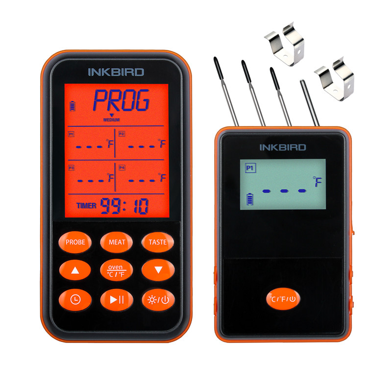 Inkbird Digital Remote Home Cooking Oven BBQ Wireless Thermometer IRF 4S Orange Stainless Steel Probes Large