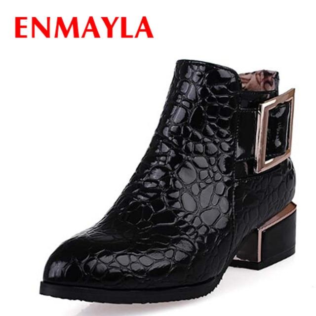 Enmayla Новые ботильоны молния модные осень-зима Невысокие туфли женские ботинки острый носок обувь с металлической пряжкой женские ботильоны распродажа