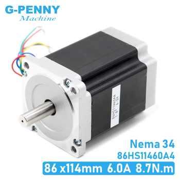 NEMA 34 CNC stepper motor 86X114mm 8.7 N.m 6A D14mm Nema34 stepping motor 1240Oz-in for CNC engraving machine high torque ! - DISCOUNT ITEM  28 OFF Home Improvement