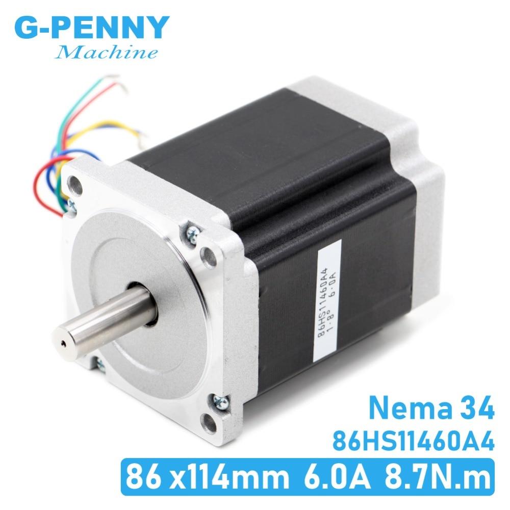 NEMA 34 motore passo-passo di CNC 86X114 millimetri 8.7 N. m 6A D14mm Nema34 1240Oz-in per macchina per incidere di CNC del motore passo-passo ad alta coppia!