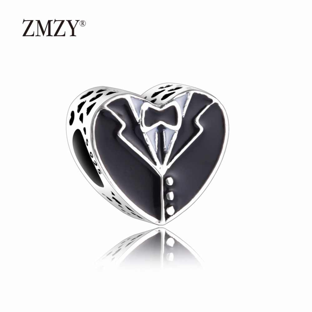 78427383f Detail Feedback Questions about ZMZY Original 925 Sterling Silver Charms  Bride and Groom Black and White Enamel Beads Fits Pandora Bracelet Women  Jewelry on ...