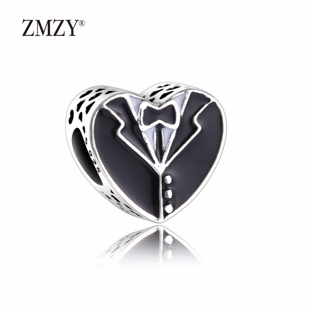 ZMZY Original 925 Sterling Silver Charms Bride and Groom Black and White Enamel Beads Fits Pandora Bracelet Women Jewelry mariposa en plata anillo