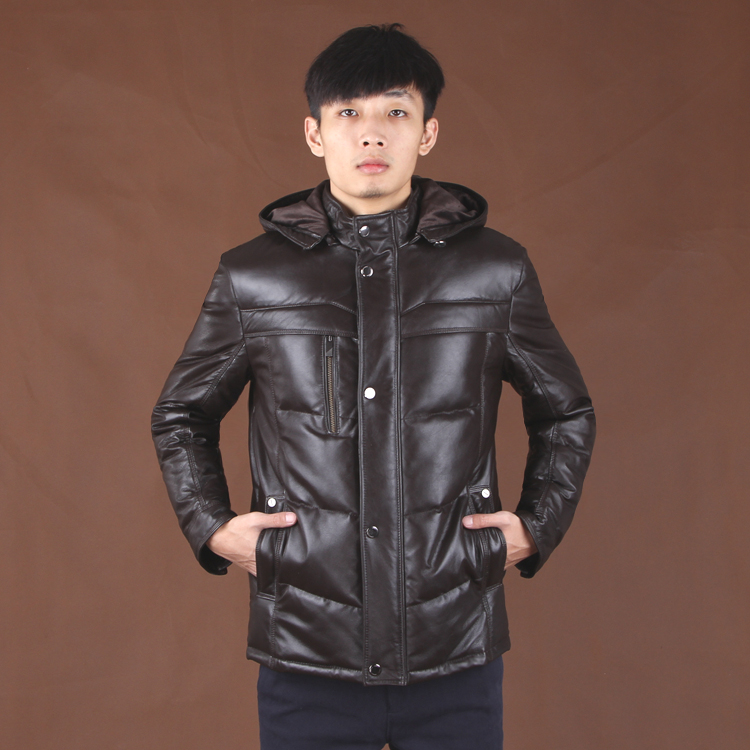 2017 men's genuine real natural leather sheepskin coat & jacket with a removable hood cap black brown oversize xxxl